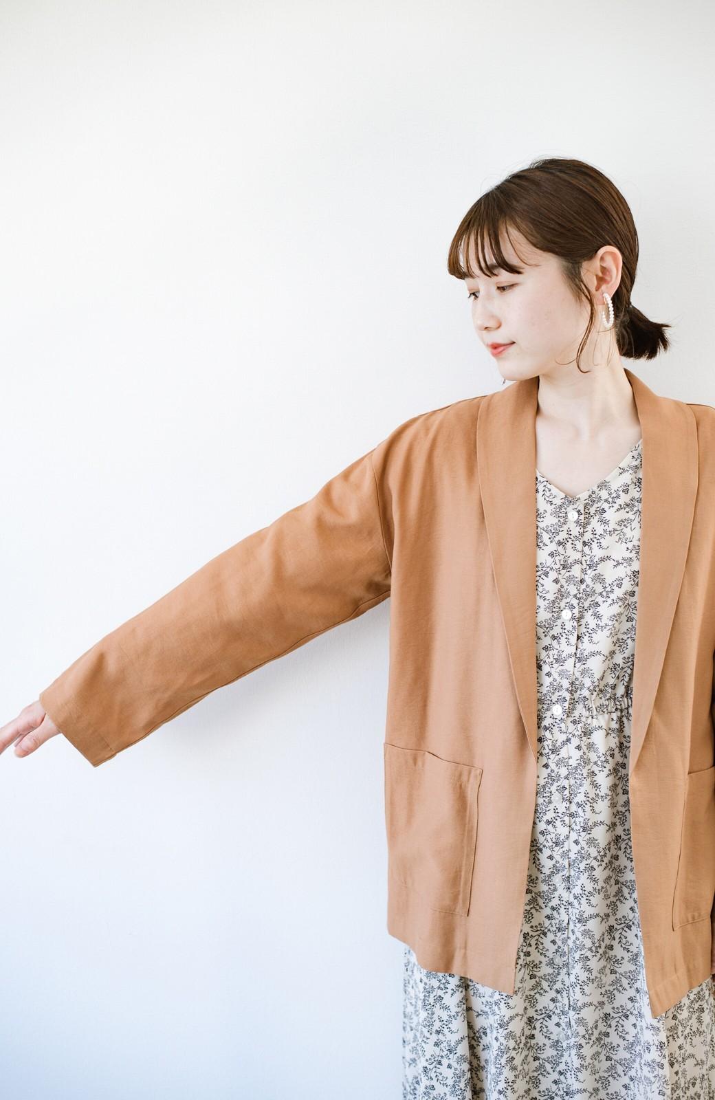 haco! さらりと羽織ってきれい見え カジュアルにも着られてほどよいきちんと感が頼りになるリラックスジャケット <キャメル>の商品写真8