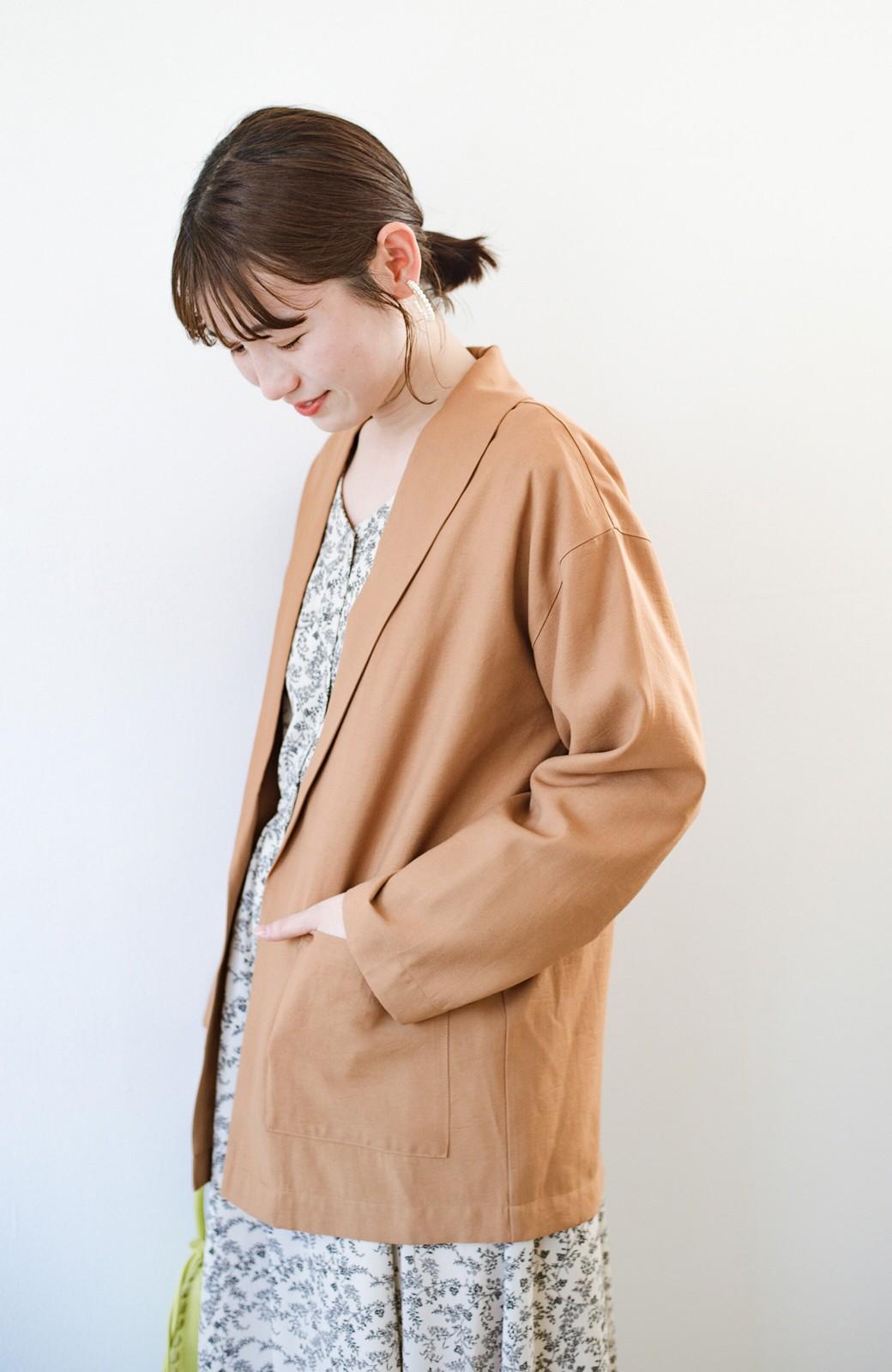 haco! さらりと羽織ってきれい見え カジュアルにも着られてほどよいきちんと感が頼りになるリラックスジャケット <キャメル>の商品写真7