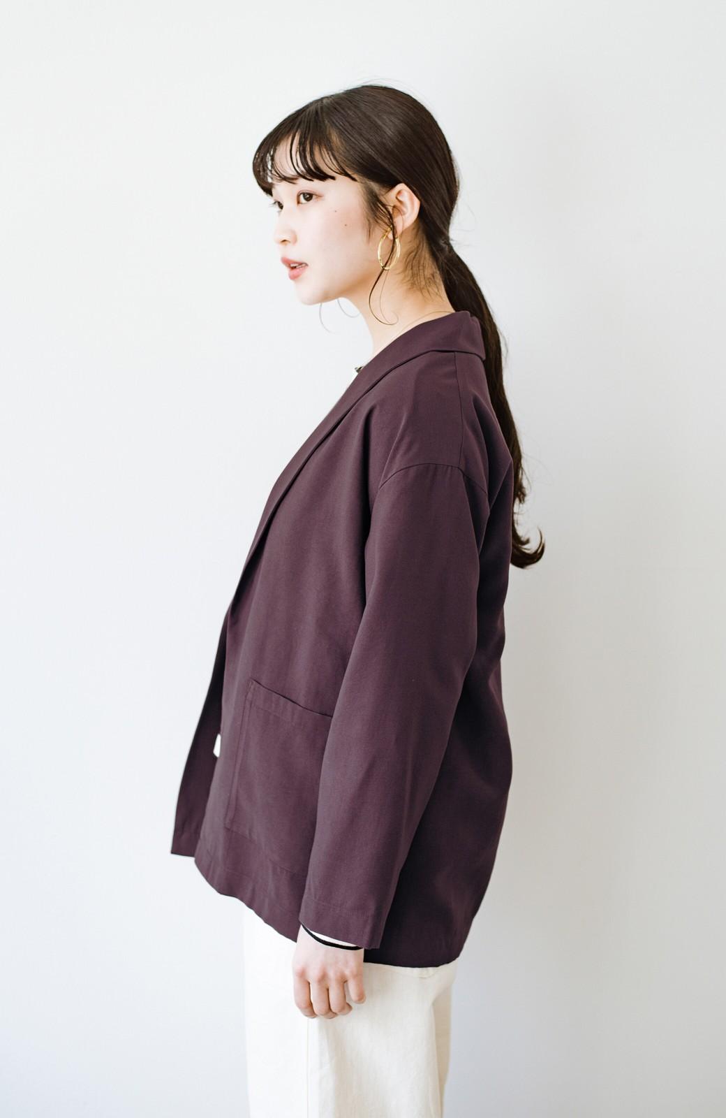 haco! さらりと羽織ってきれい見え カジュアルにも着られてほどよいきちんと感が頼りになるリラックスジャケット <チョコ>の商品写真14