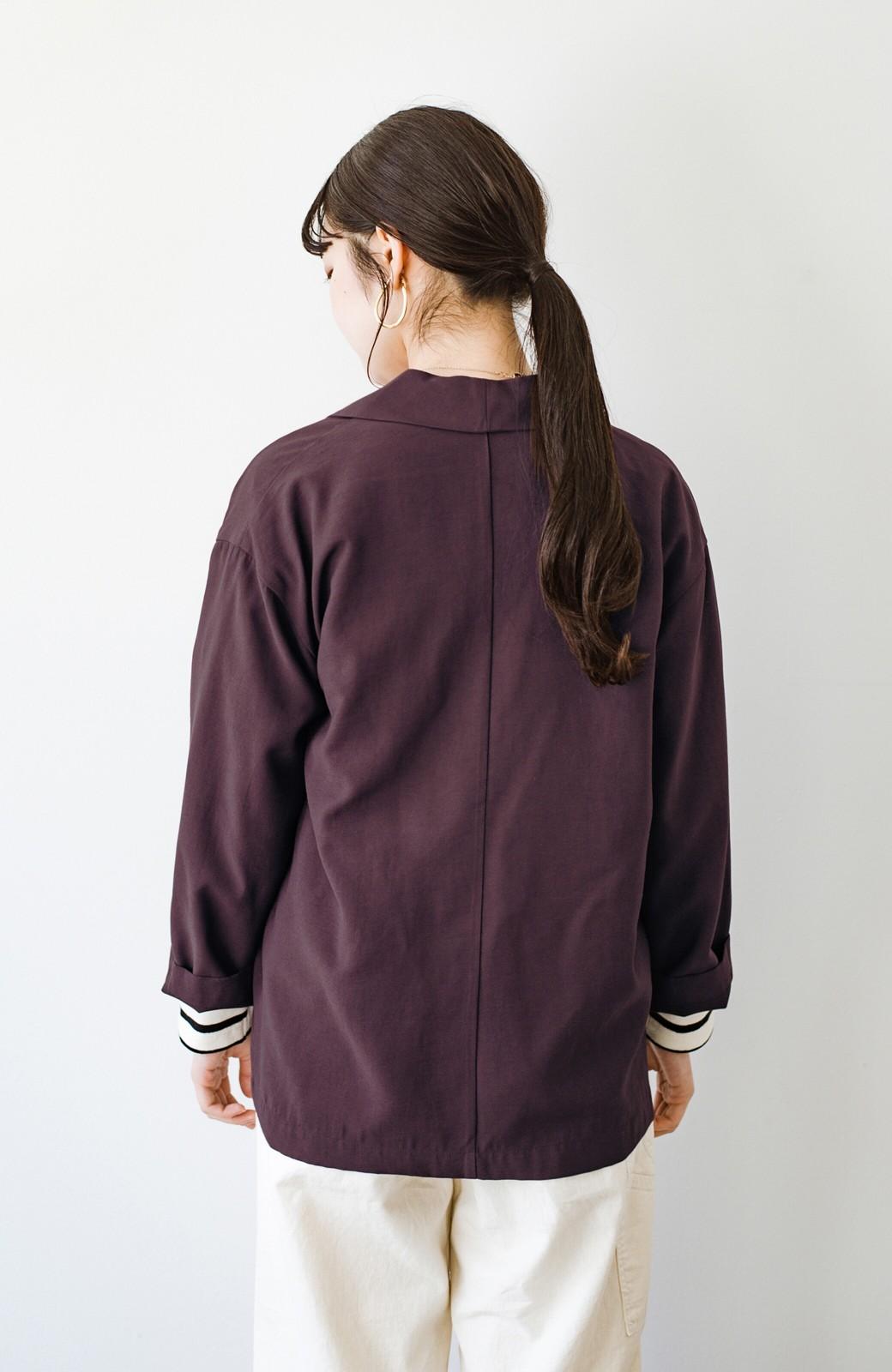 haco! さらりと羽織ってきれい見え カジュアルにも着られてほどよいきちんと感が頼りになるリラックスジャケット <チョコ>の商品写真16