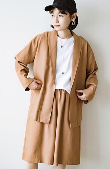 haco! きちんと感が頼りになるリラックスジャケット&長め丈が安心な大人のリラックスハーフパンツセット <キャメル>の商品写真