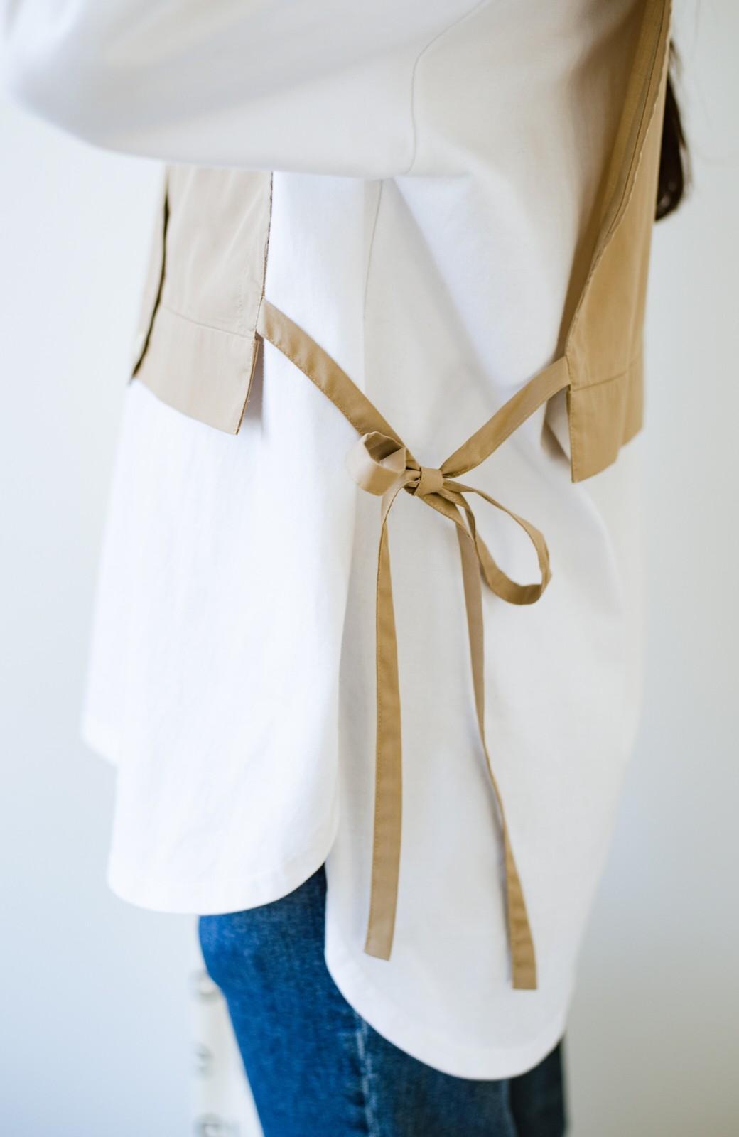 haco! いろいろ着まわせて簡単に今っぽコーデが完成!さらりとシャツ素材が心地いいベストとワンピースのセット <ベージュ>の商品写真25