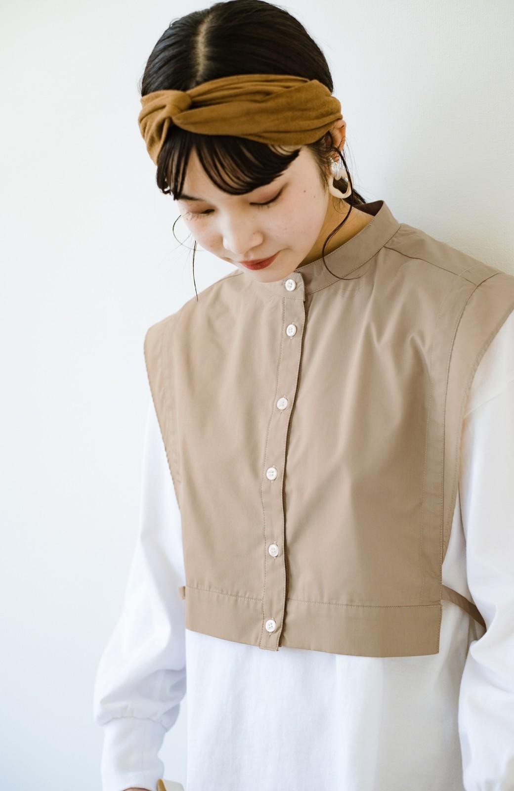 haco! いろいろ着まわせて簡単に今っぽコーデが完成!さらりとシャツ素材が心地いいベストとワンピースのセット <ベージュ>の商品写真8
