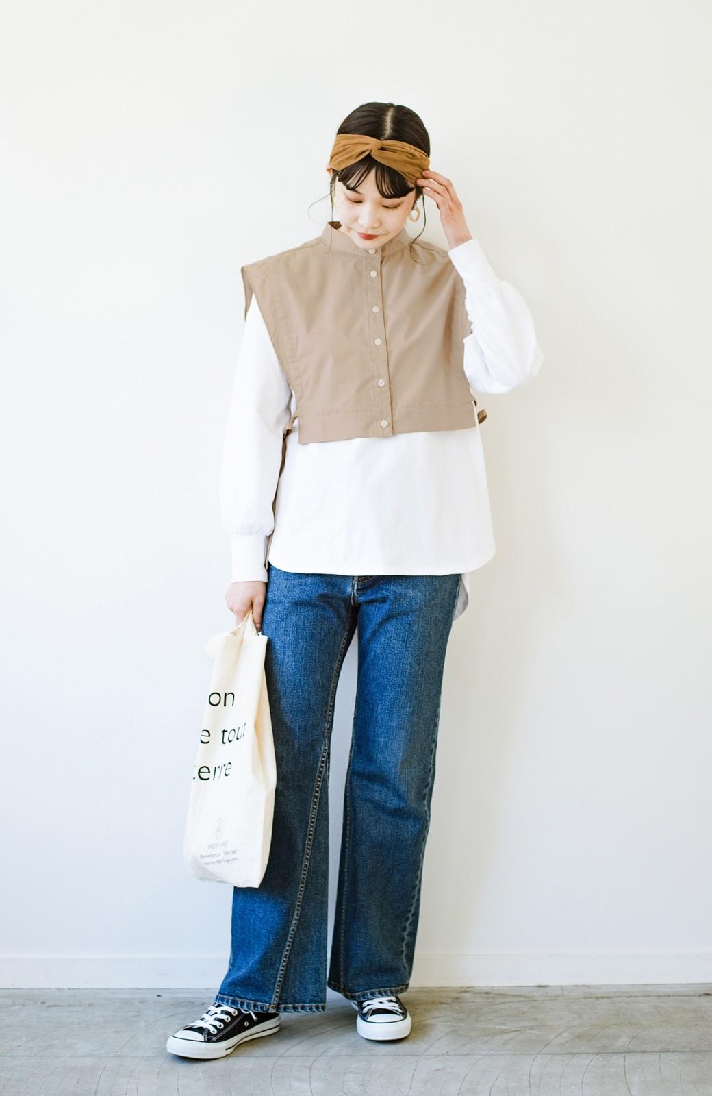 haco! いろいろ着まわせて簡単に今っぽコーデが完成!さらりとシャツ素材が心地いいベストとワンピースのセット <ベージュ>の商品写真18