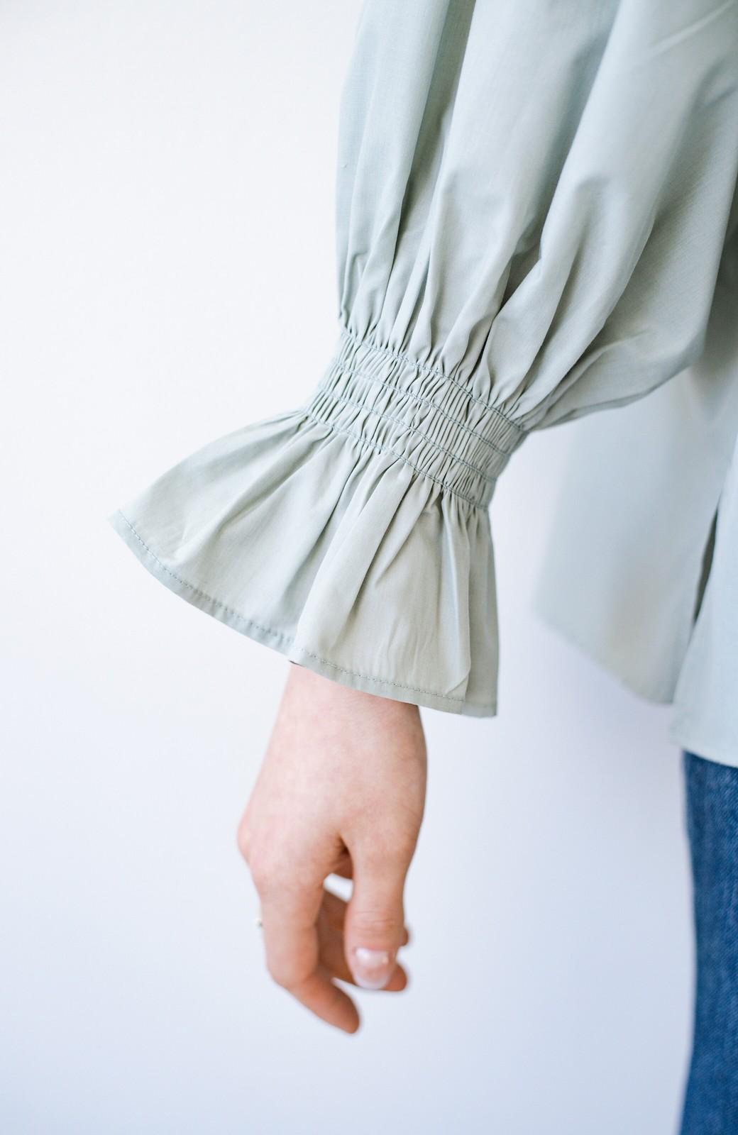 haco! パッと着るだけで新鮮&おしゃれ見え!ゆるめサイズが今っぽいチャイナボタンブラウス <ミント>の商品写真8