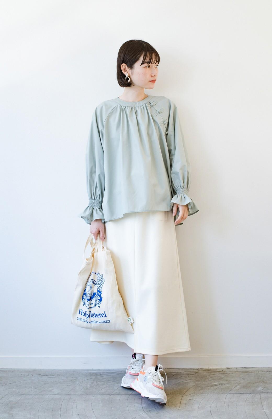 haco! パッと着るだけで新鮮&おしゃれ見え!ゆるめサイズが今っぽいチャイナボタンブラウス <ミント>の商品写真11