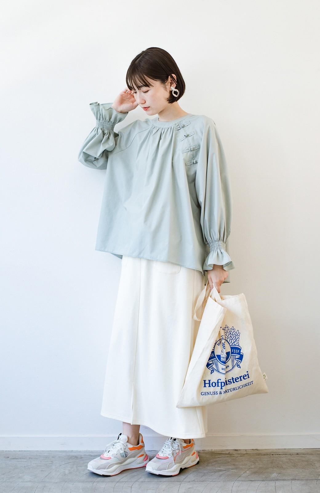 haco! パッと着るだけで新鮮&おしゃれ見え!ゆるめサイズが今っぽいチャイナボタンブラウス <ミント>の商品写真12