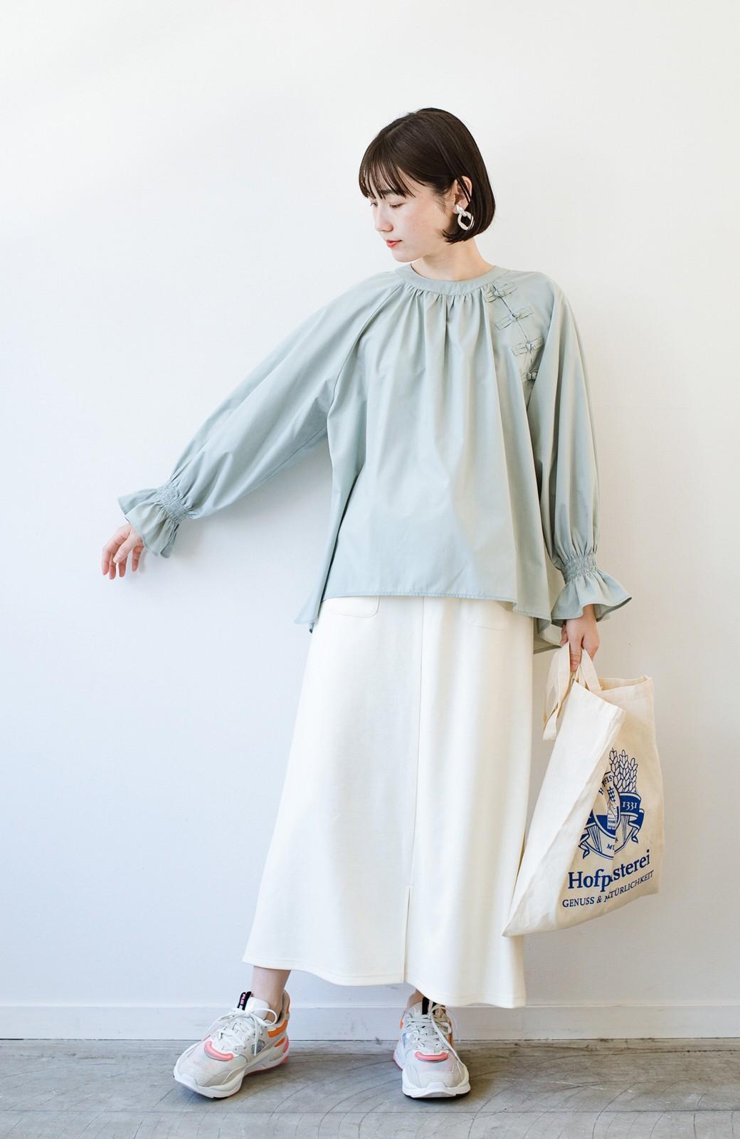 haco! パッと着るだけで新鮮&おしゃれ見え!ゆるめサイズが今っぽいチャイナボタンブラウス <ミント>の商品写真13