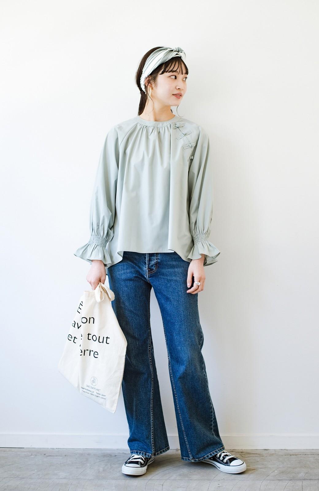 haco! パッと着るだけで新鮮&おしゃれ見え!ゆるめサイズが今っぽいチャイナボタンブラウス <ミント>の商品写真14