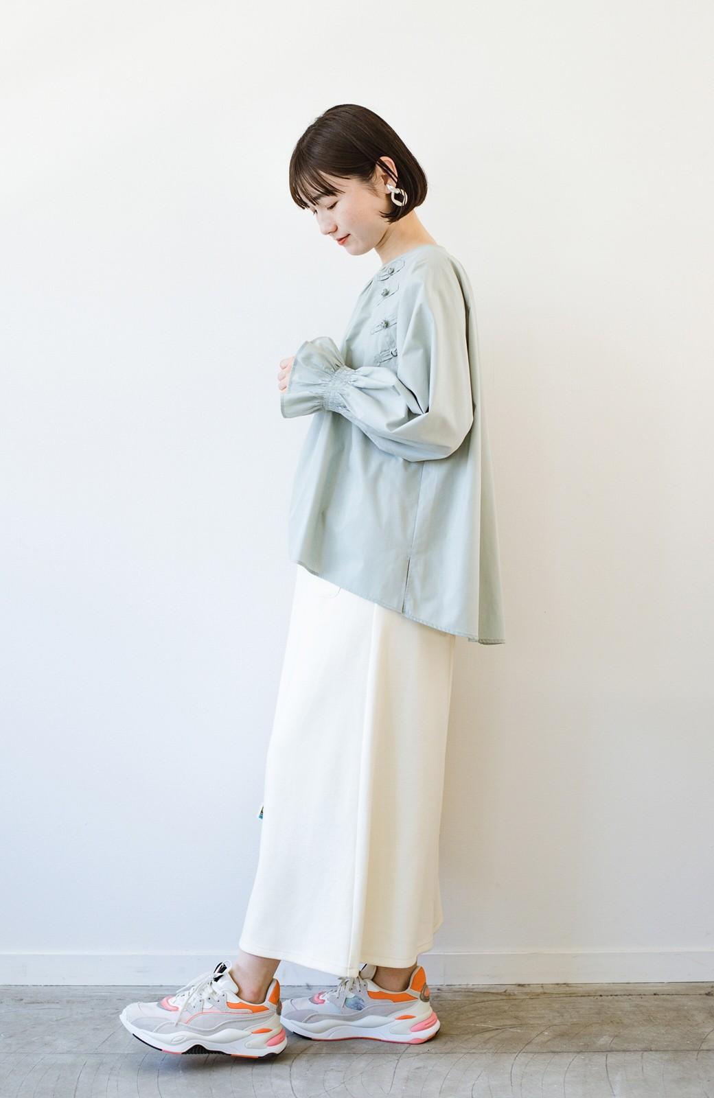 haco! パッと着るだけで新鮮&おしゃれ見え!ゆるめサイズが今っぽいチャイナボタンブラウス <ミント>の商品写真16