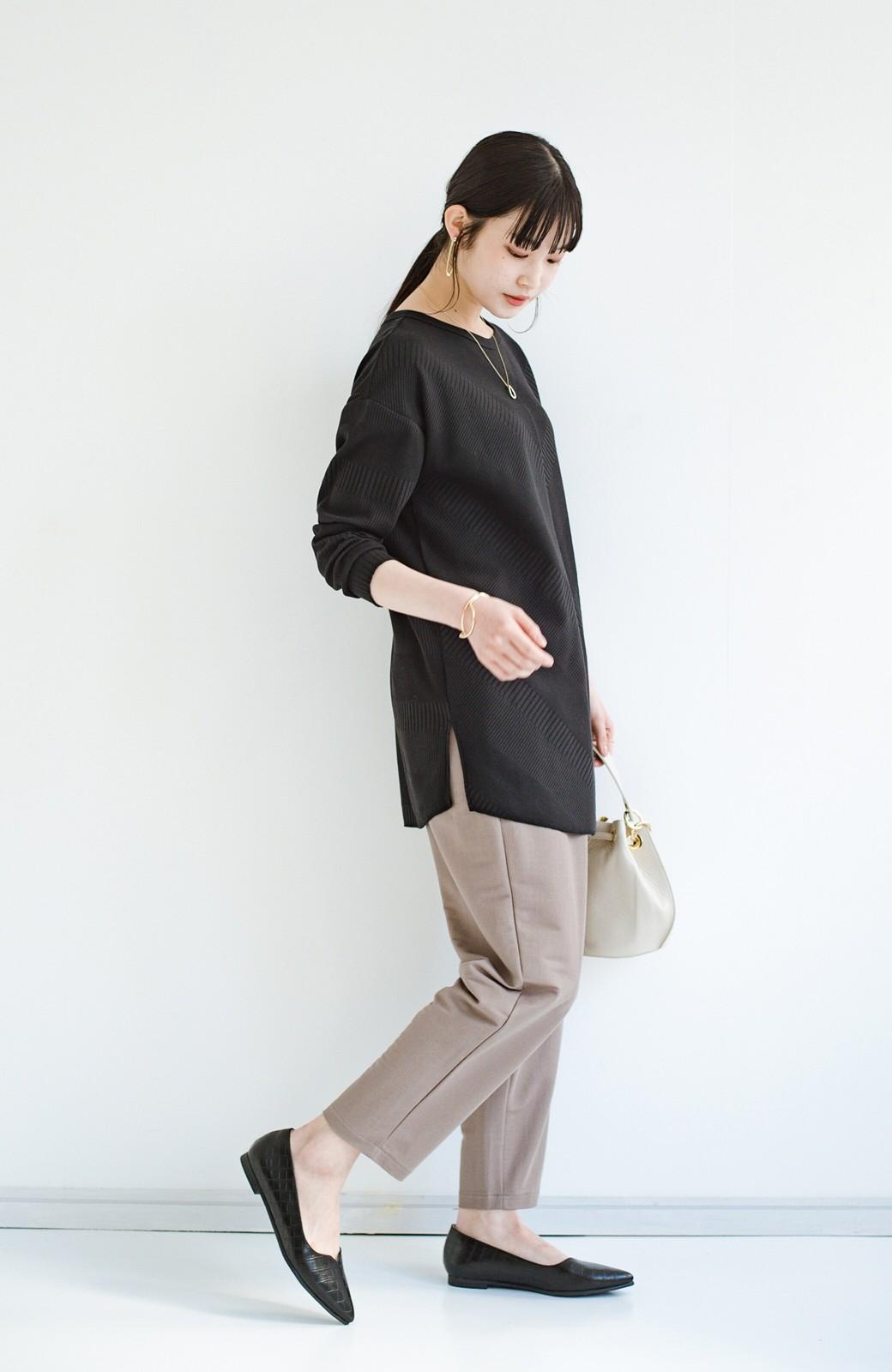 haco! 【防水】普段もお仕事も雨の日も!さっと履いて女っぽい Vカットが足をきれいに見せてくれるフラットパンプス <ブラック>の商品写真11