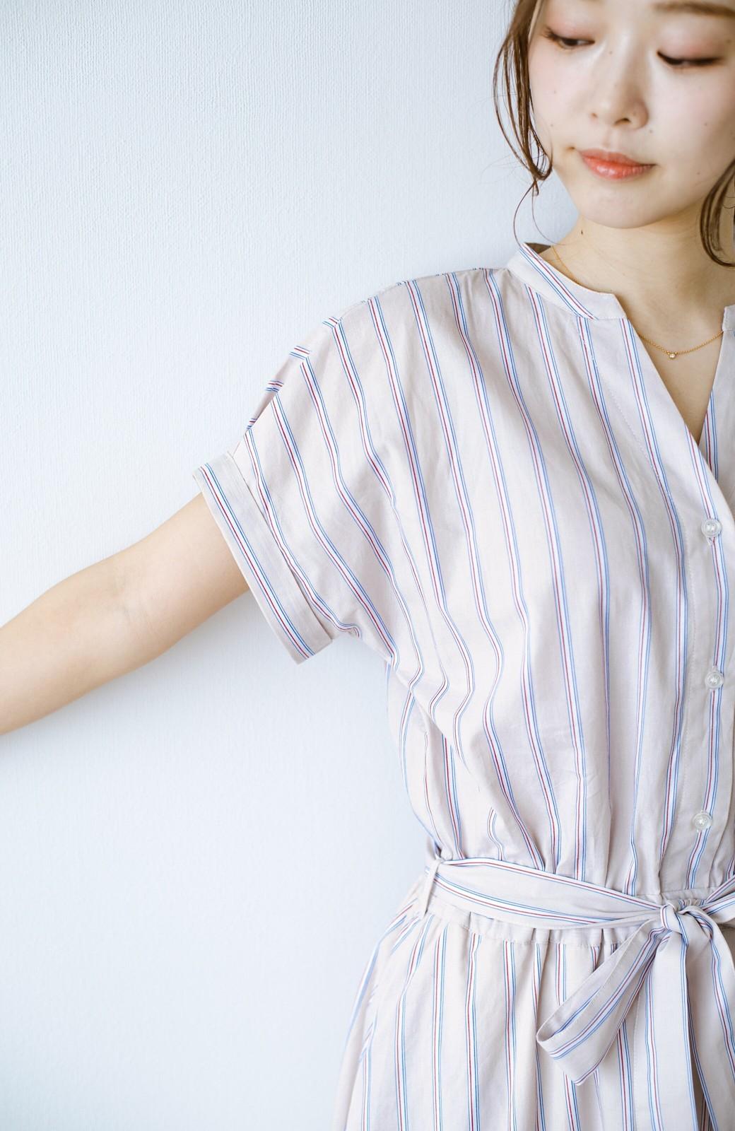 haco! お仕事にもデートにも!ウエストリボンで印象チェンジできるシャツワンピース <ストライプ>の商品写真4
