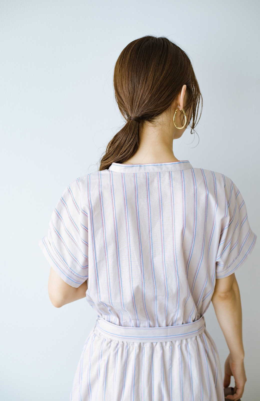 haco! お仕事にもデートにも!ウエストリボンで印象チェンジできるシャツワンピース <ストライプ>の商品写真7
