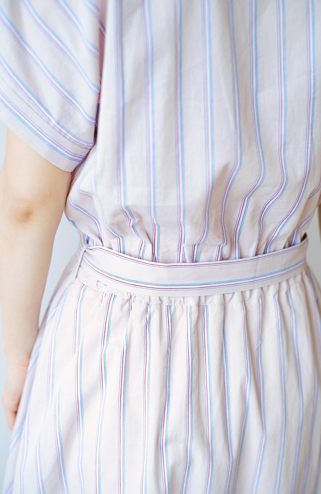 haco! お仕事にもデートにも!ウエストリボンで印象チェンジできるシャツワンピース <ストライプ>の商品写真8