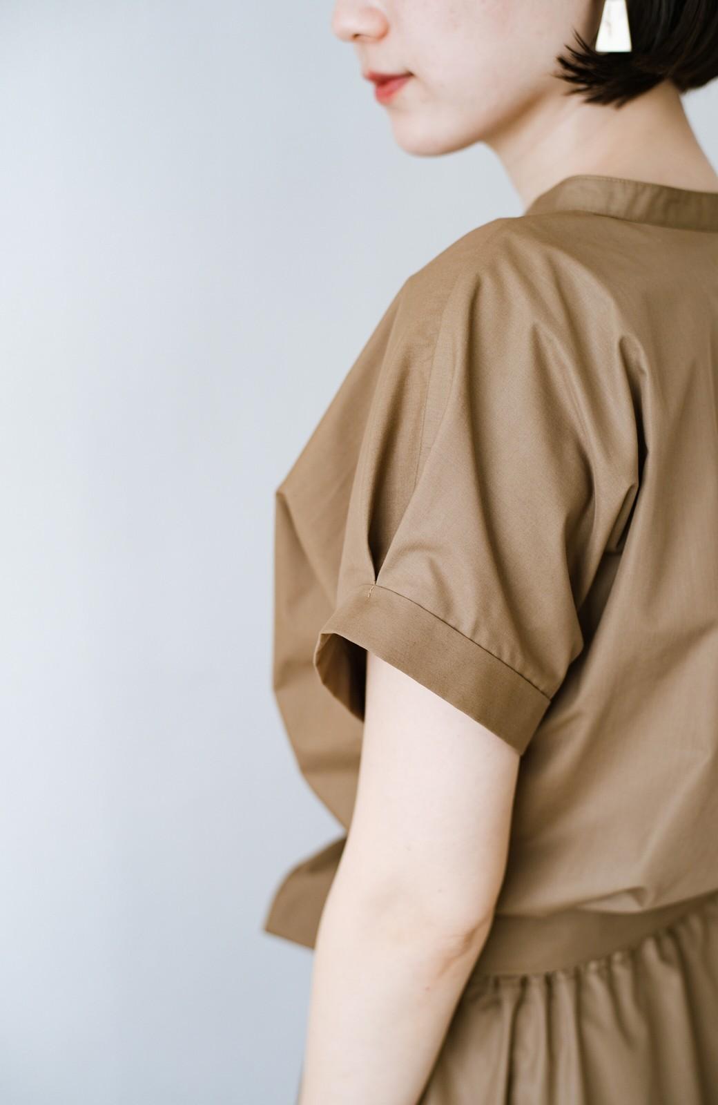 haco! お仕事にもデートにも!ウエストリボンで印象チェンジできるシャツワンピース <ダークベージュ>の商品写真18