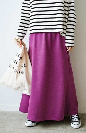 haco! 【洗濯機洗い可】日々に彩りをプラス!おしゃれ度と気分を上げてくれる綺麗色スカート <パープル>の商品写真
