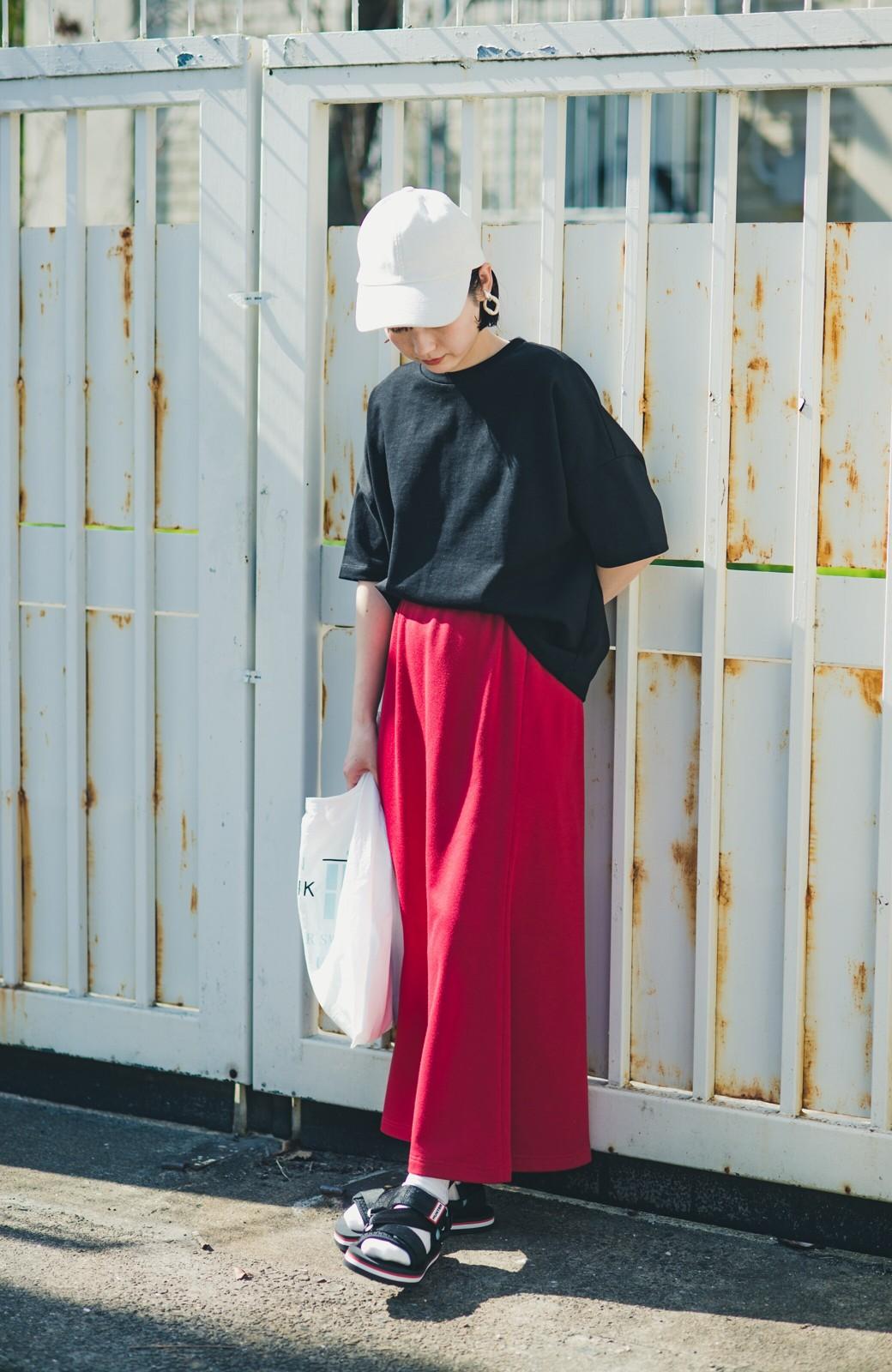 haco! 【洗濯機洗い可】日々に彩りをプラス!おしゃれ度と気分を上げてくれる綺麗色スカート <レッド>の商品写真6