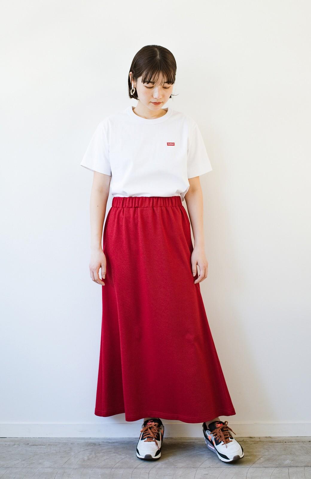 haco! 【洗濯機洗い可】日々に彩りをプラス!おしゃれ度と気分を上げてくれる綺麗色スカート <レッド>の商品写真9