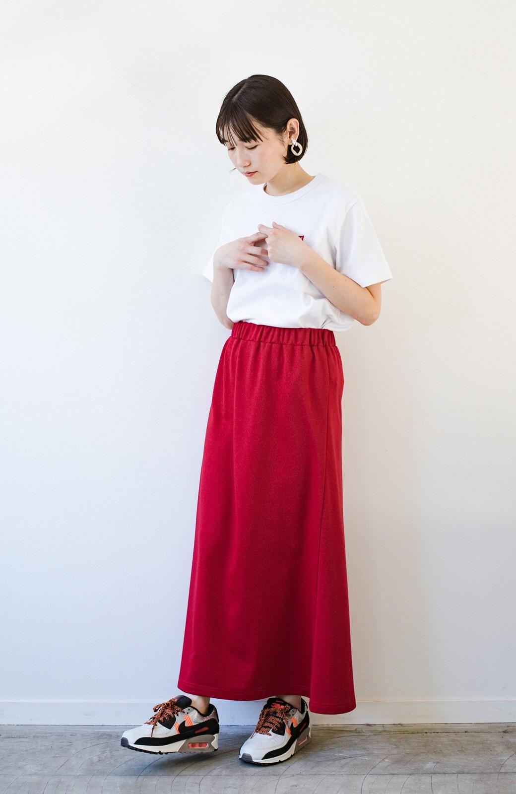 haco! 【洗濯機洗い可】日々に彩りをプラス!おしゃれ度と気分を上げてくれる綺麗色スカート <レッド>の商品写真17