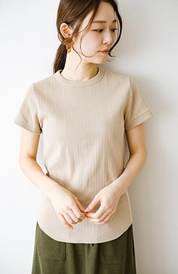 haco! 定番スタイルがクラスアップ!ヴィンテージブロードリブクルーネックTシャツ by Healthknit <ベージュ>の商品写真