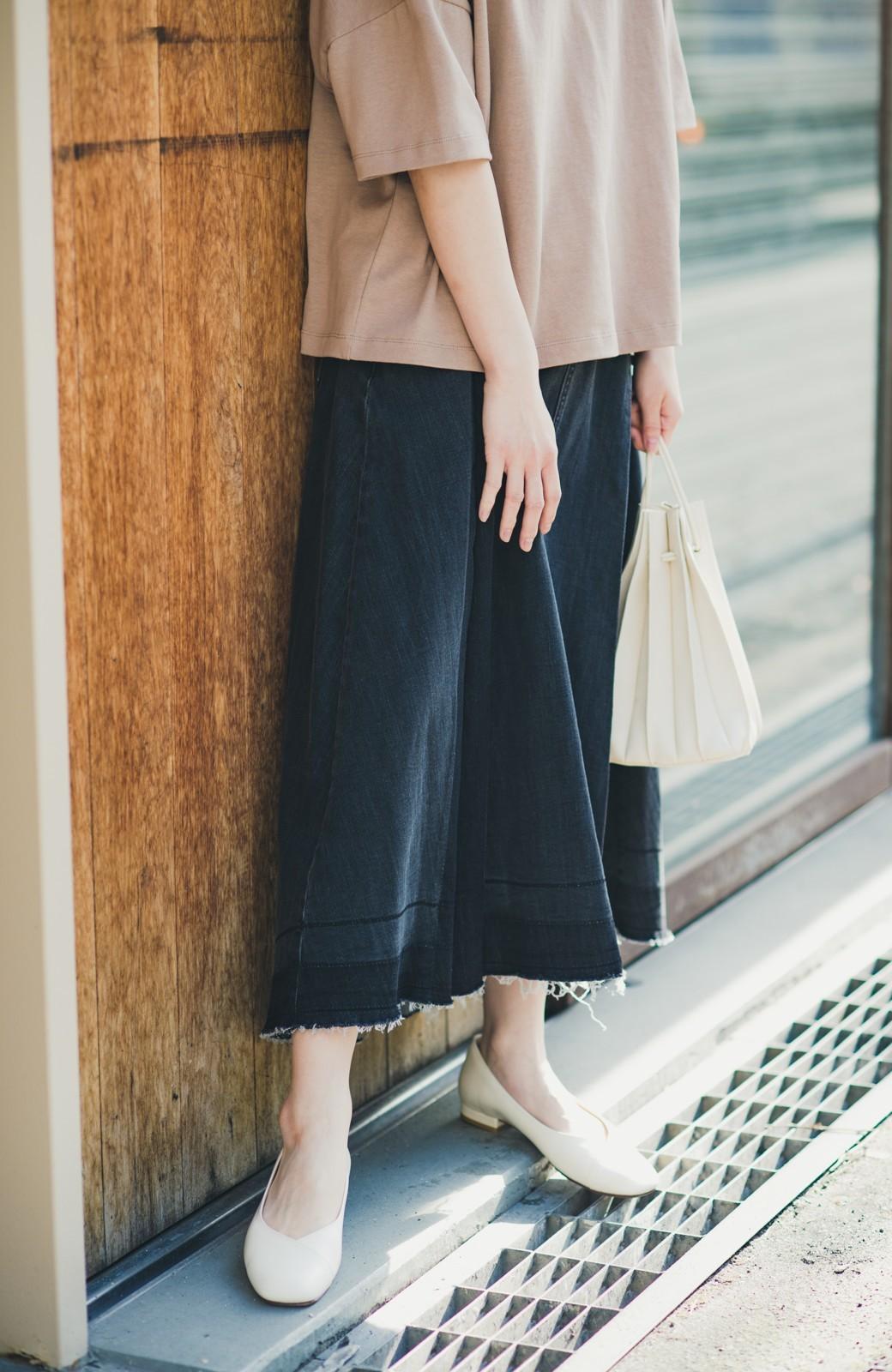 haco! 【新色登場&再入荷!】デニムパネルプリーツスカート <ブラック>の商品写真2