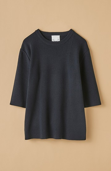 haco! haco! 大人がTシャツがわりに着るのにちょうどいい!洗濯機で気軽に洗えるニットトップス by que made me <ダークネイビー>の商品写真
