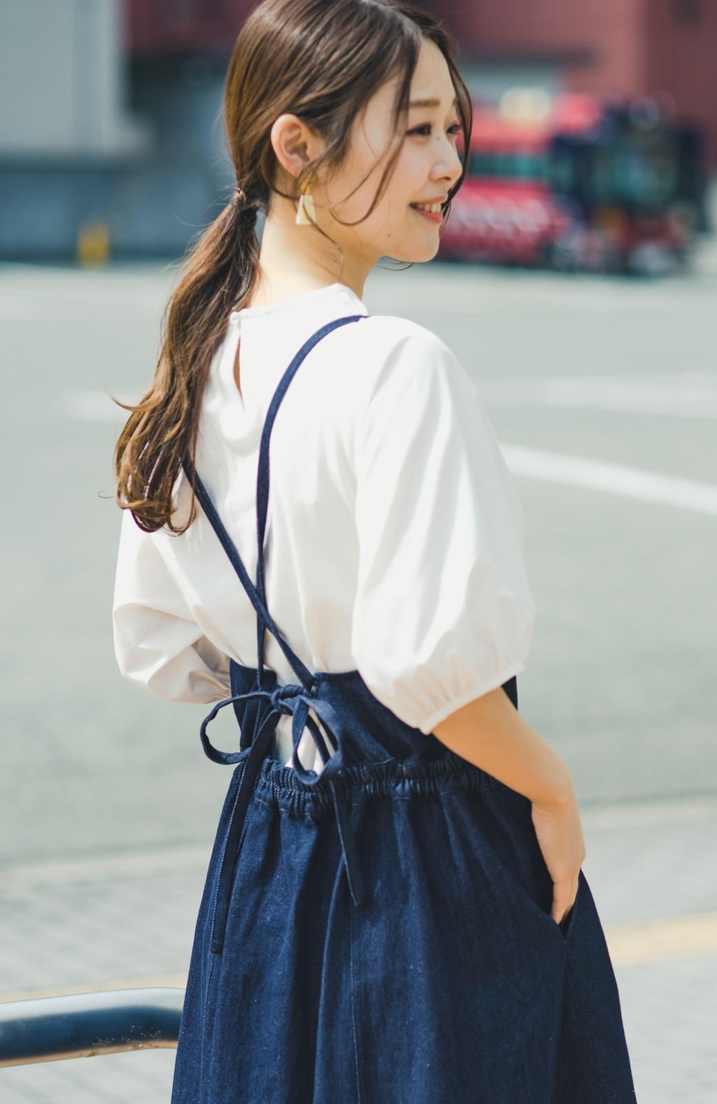 haco! 華奢見せデザインで女っぽ!Tシャツにもニットにも似合ってずっと使えるデニムサロペットスカート <ブルー>の商品写真14