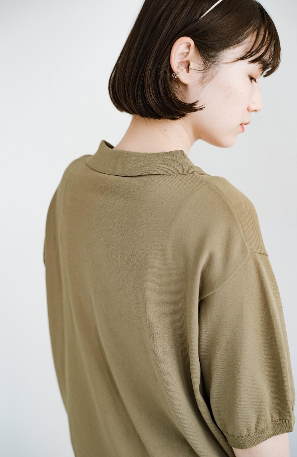 haco! Tシャツ代わりに着ておしゃれ気分が高まる 洗濯機で洗えるポロニットトップス <ベージュ>の商品写真6