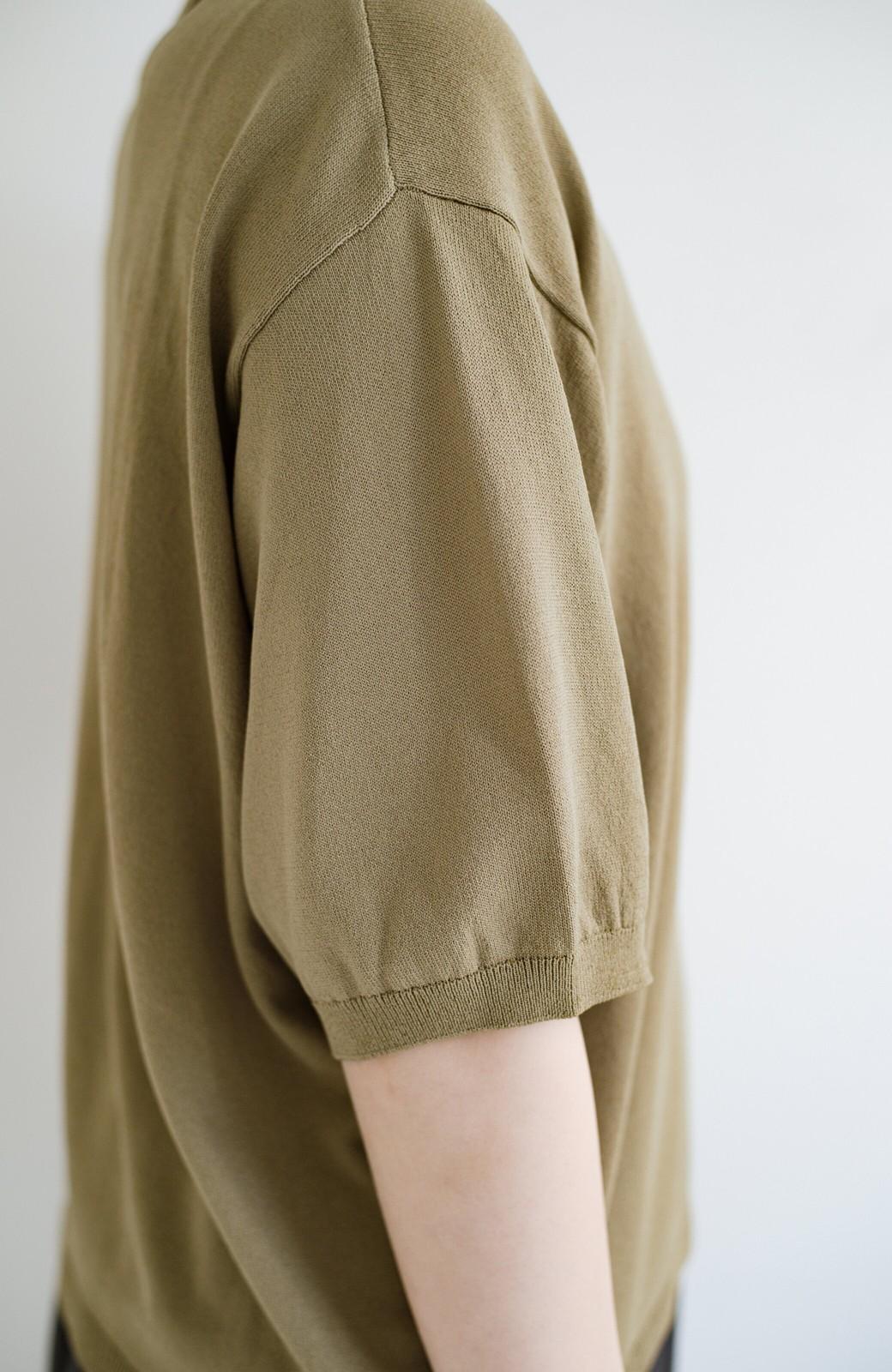 haco! Tシャツ代わりに着ておしゃれ気分が高まる 洗濯機で洗えるポロニットトップス <ベージュ>の商品写真7