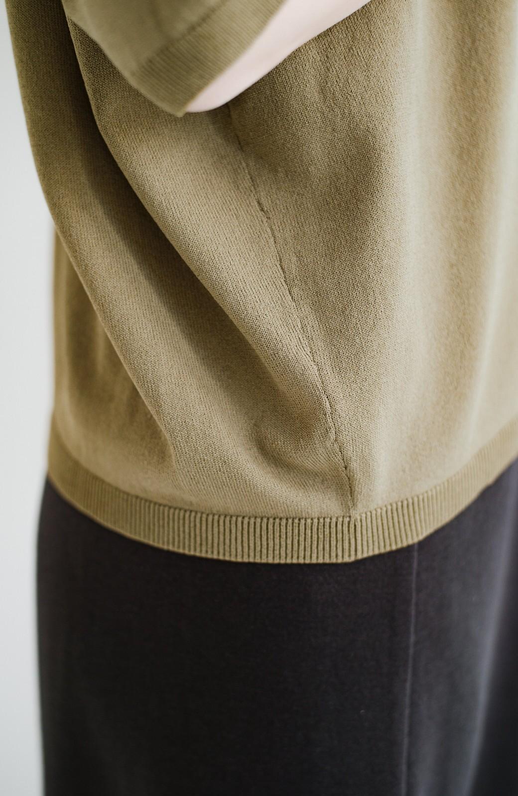 haco! Tシャツ代わりに着ておしゃれ気分が高まる 洗濯機で洗えるポロニットトップス <ベージュ>の商品写真8