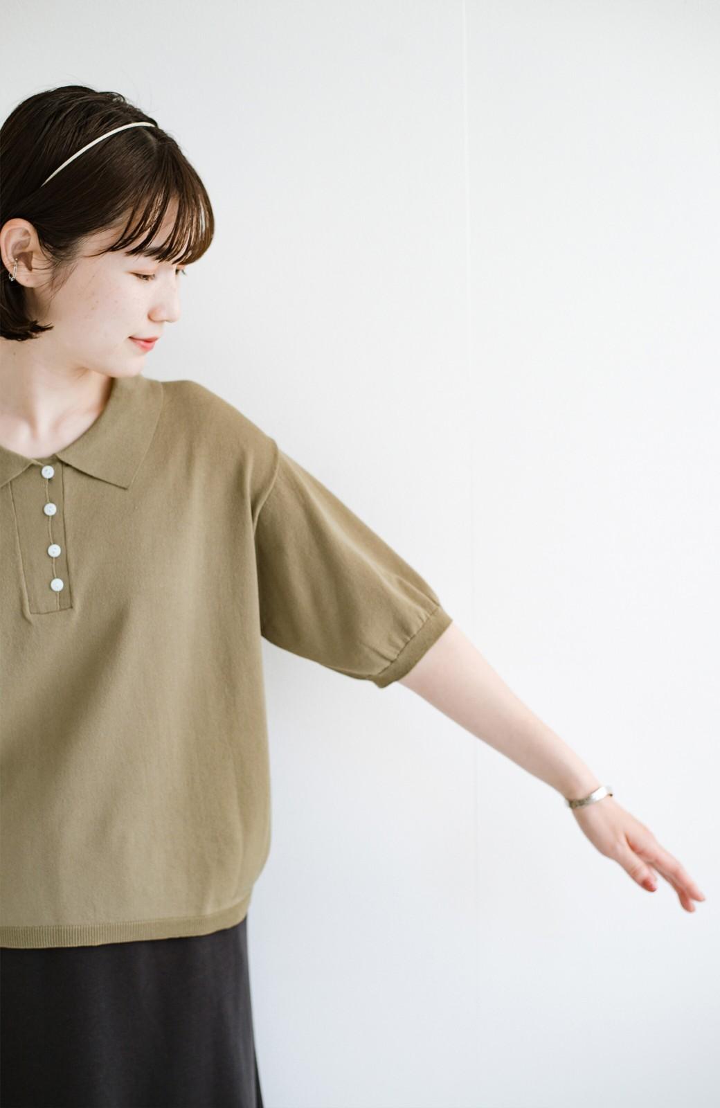 haco! Tシャツ代わりに着ておしゃれ気分が高まる 洗濯機で洗えるポロニットトップス <ベージュ>の商品写真5