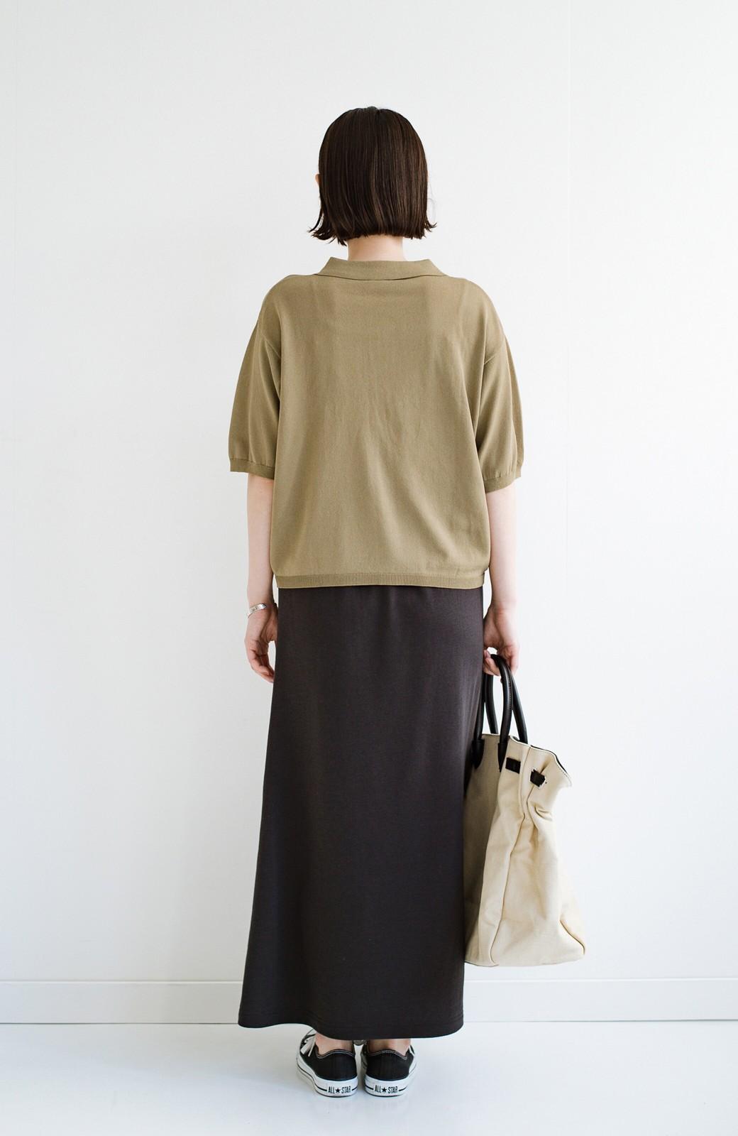 haco! Tシャツ代わりに着ておしゃれ気分が高まる 洗濯機で洗えるポロニットトップス <ベージュ>の商品写真12
