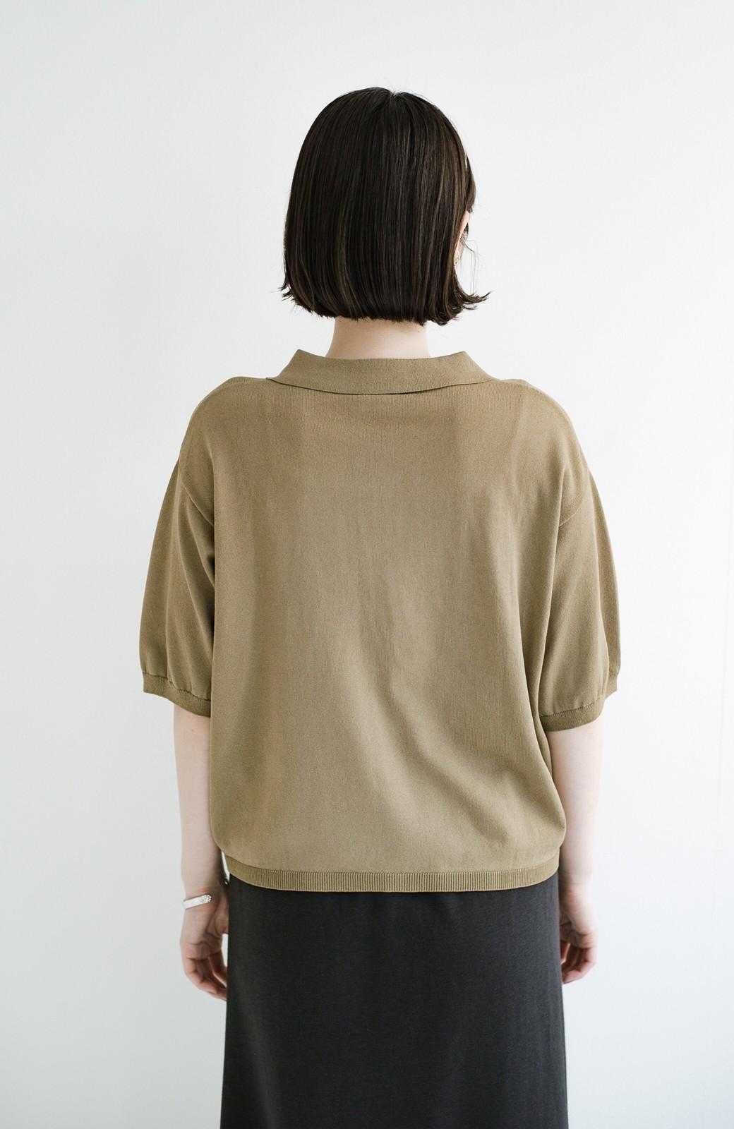 haco! Tシャツ代わりに着ておしゃれ気分が高まる 洗濯機で洗えるポロニットトップス <ベージュ>の商品写真15