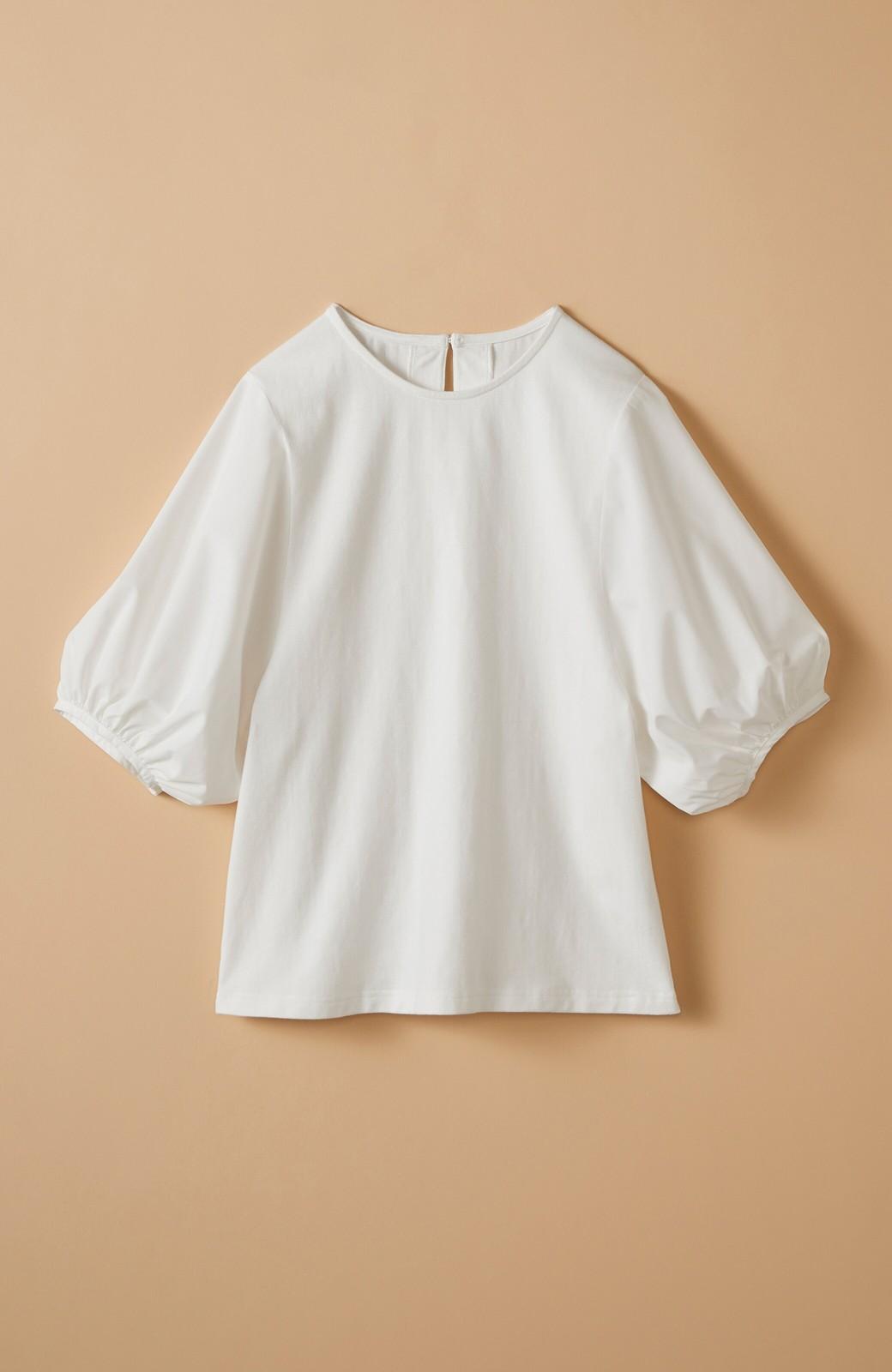 haco! Tシャツの代わりにこれ着とこう!二の腕隠してかわいげ増します!ちょうちん袖トップス by que made me <ホワイト>の商品写真2