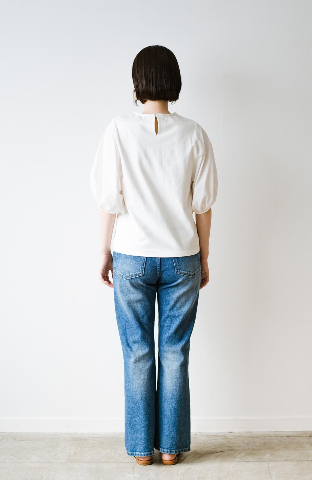 haco! Tシャツの代わりにこれ着とこう!二の腕隠してかわいげ増します!ちょうちん袖トップス by que made me <ホワイト>の商品写真6
