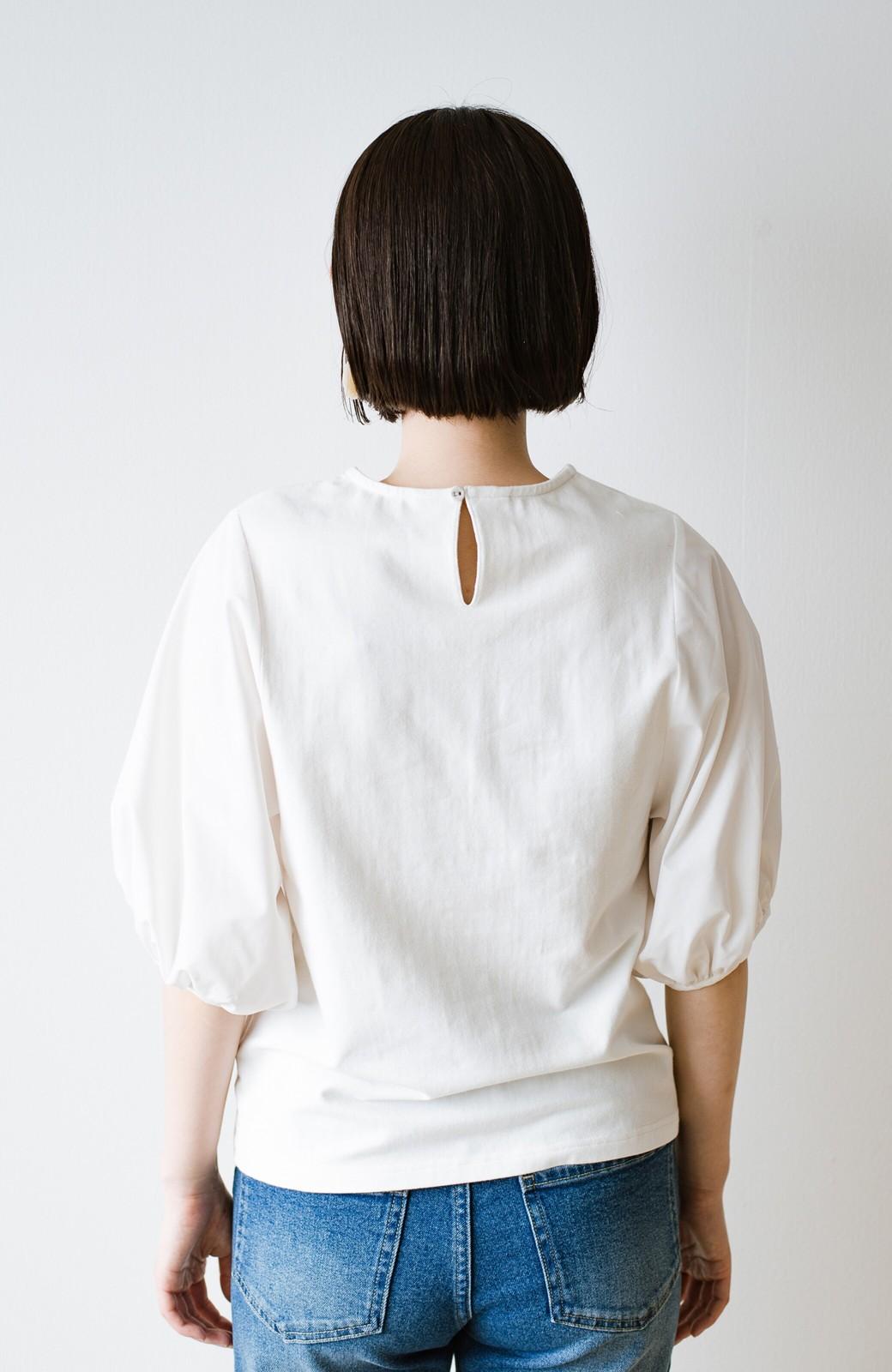 haco! Tシャツの代わりにこれ着とこう!二の腕隠してかわいげ増します!ちょうちん袖トップス by que made me <ホワイト>の商品写真22