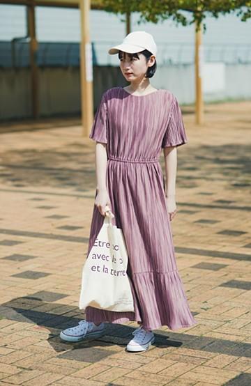 haco! やる気が出ない日もパッと着てかわいくなれる ランダムプリーツのティアードワンピース <スモークピンク>の商品写真