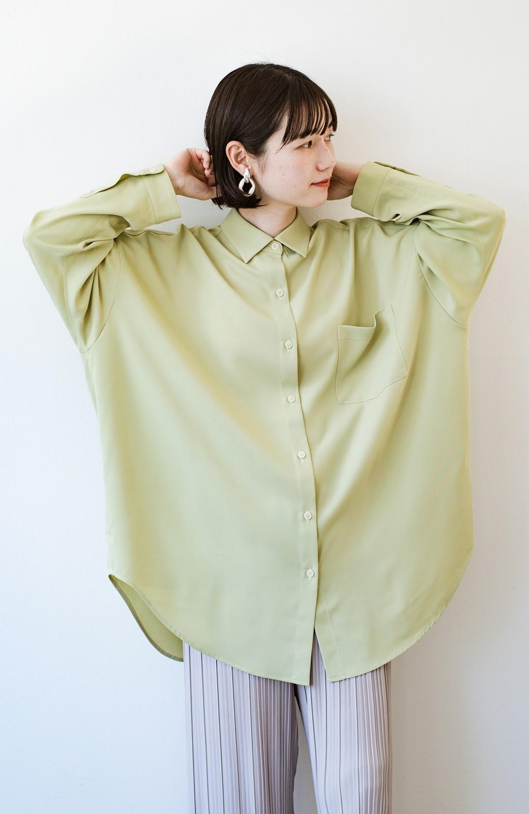 haco! カンタン今っぽ!シワになりにくく羽織りにもなるこなれ見えビッグシャツ <ライトオリーブ>の商品写真10