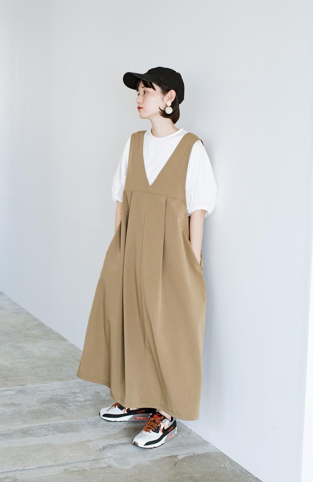 haco! 長め丈登場!Tシャツにもニットにもずーーーっと着られて便利なジャンパースカート <ベージュ>の商品写真9