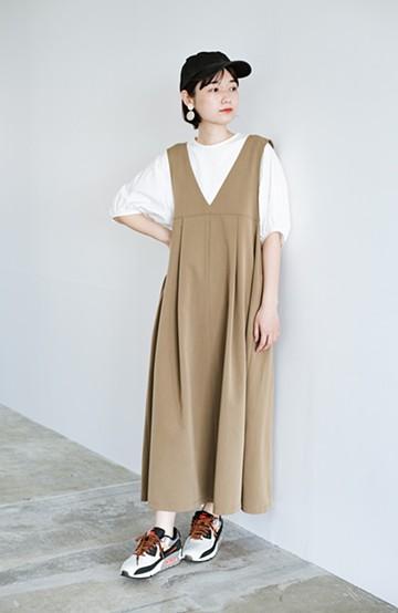 haco! 長め丈登場!Tシャツにもニットにもずーーーっと着られて便利なジャンパースカート <ベージュ>の商品写真