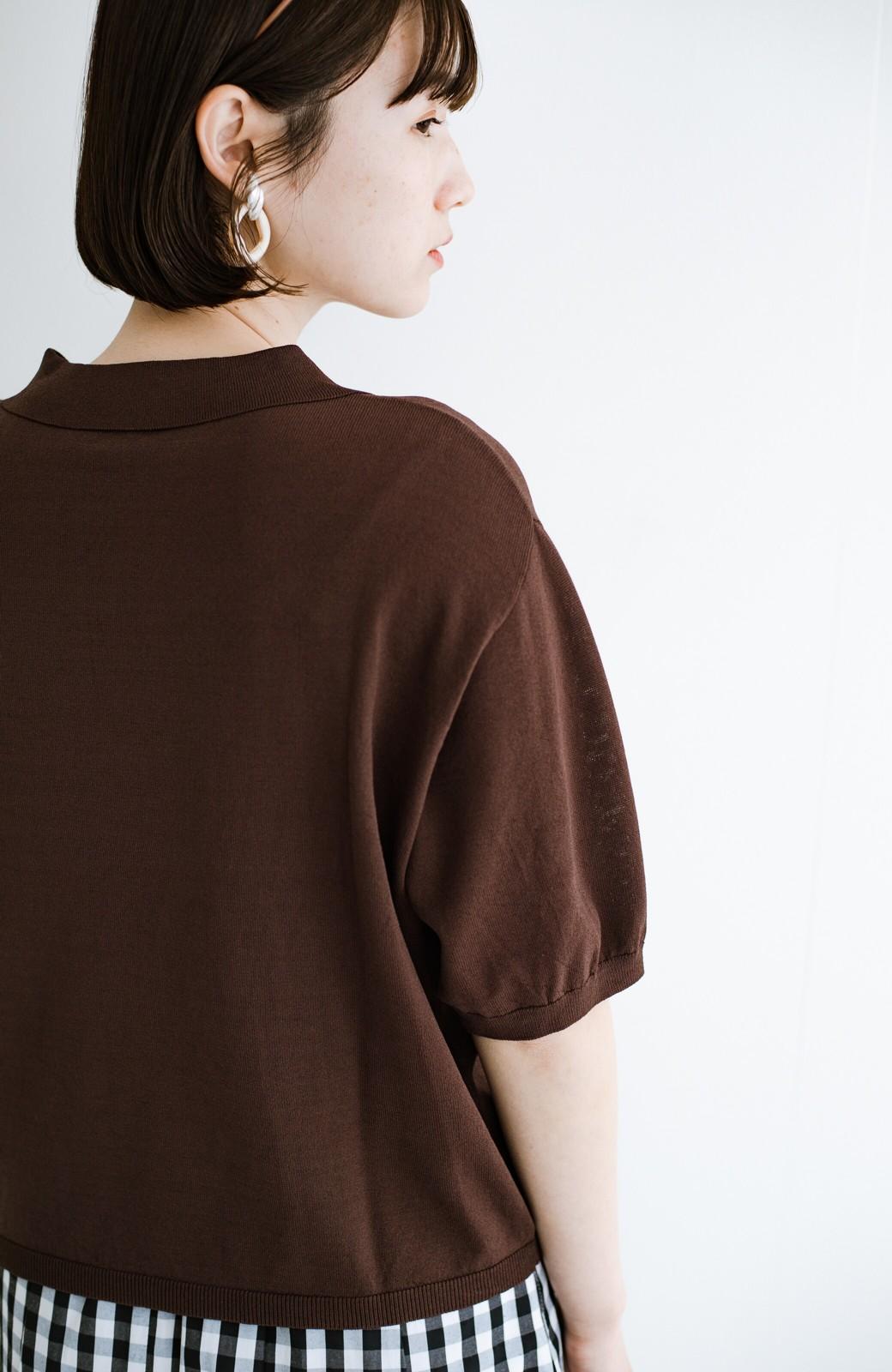 haco! Tシャツ代わりに着ておしゃれ気分が高まる 洗濯機で洗えるポロニットトップス <ブラウン>の商品写真8