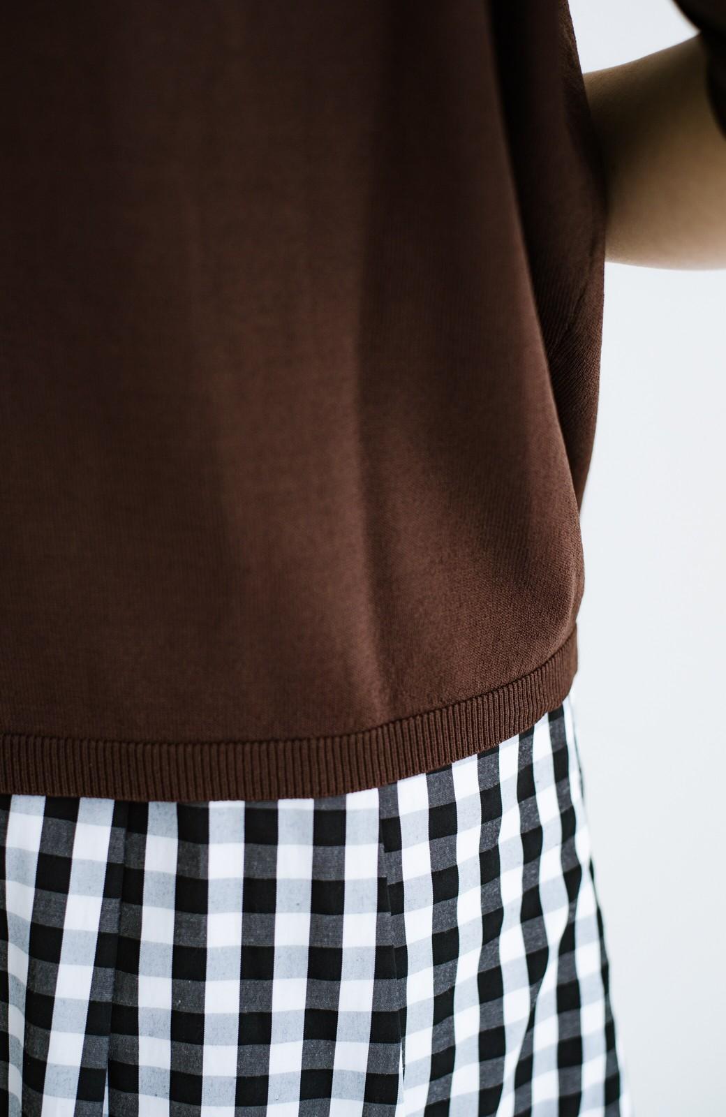 haco! Tシャツ代わりに着ておしゃれ気分が高まる 洗濯機で洗えるポロニットトップス <ブラウン>の商品写真7