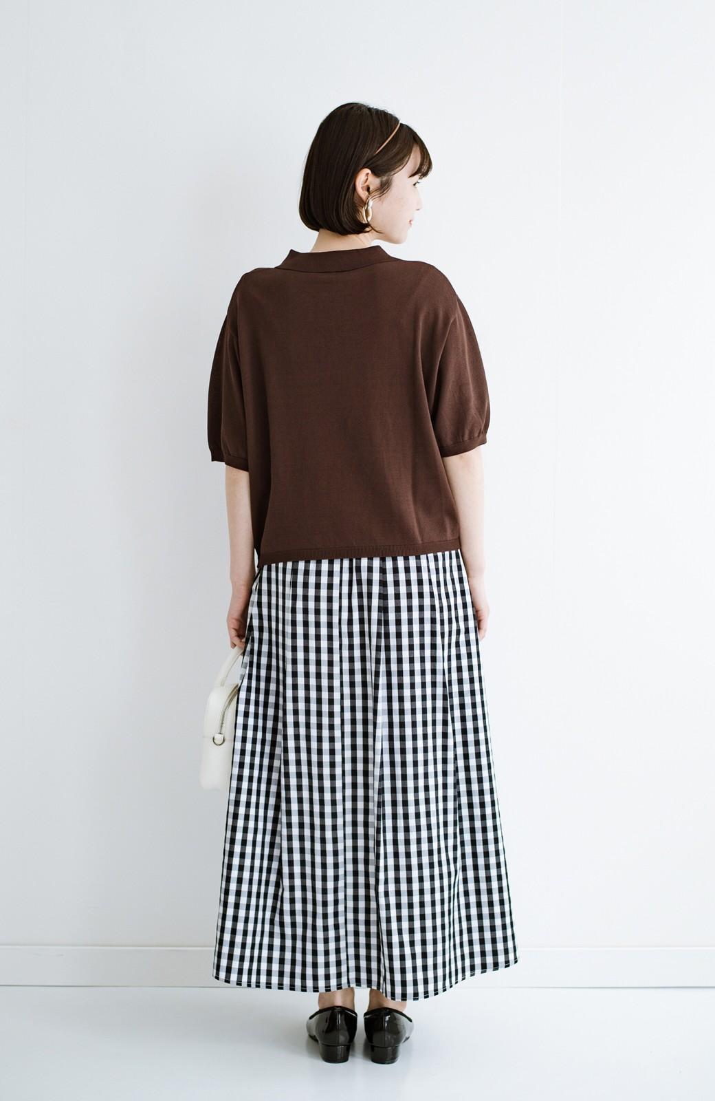 haco! Tシャツ代わりに着ておしゃれ気分が高まる 洗濯機で洗えるポロニットトップス <ブラウン>の商品写真14