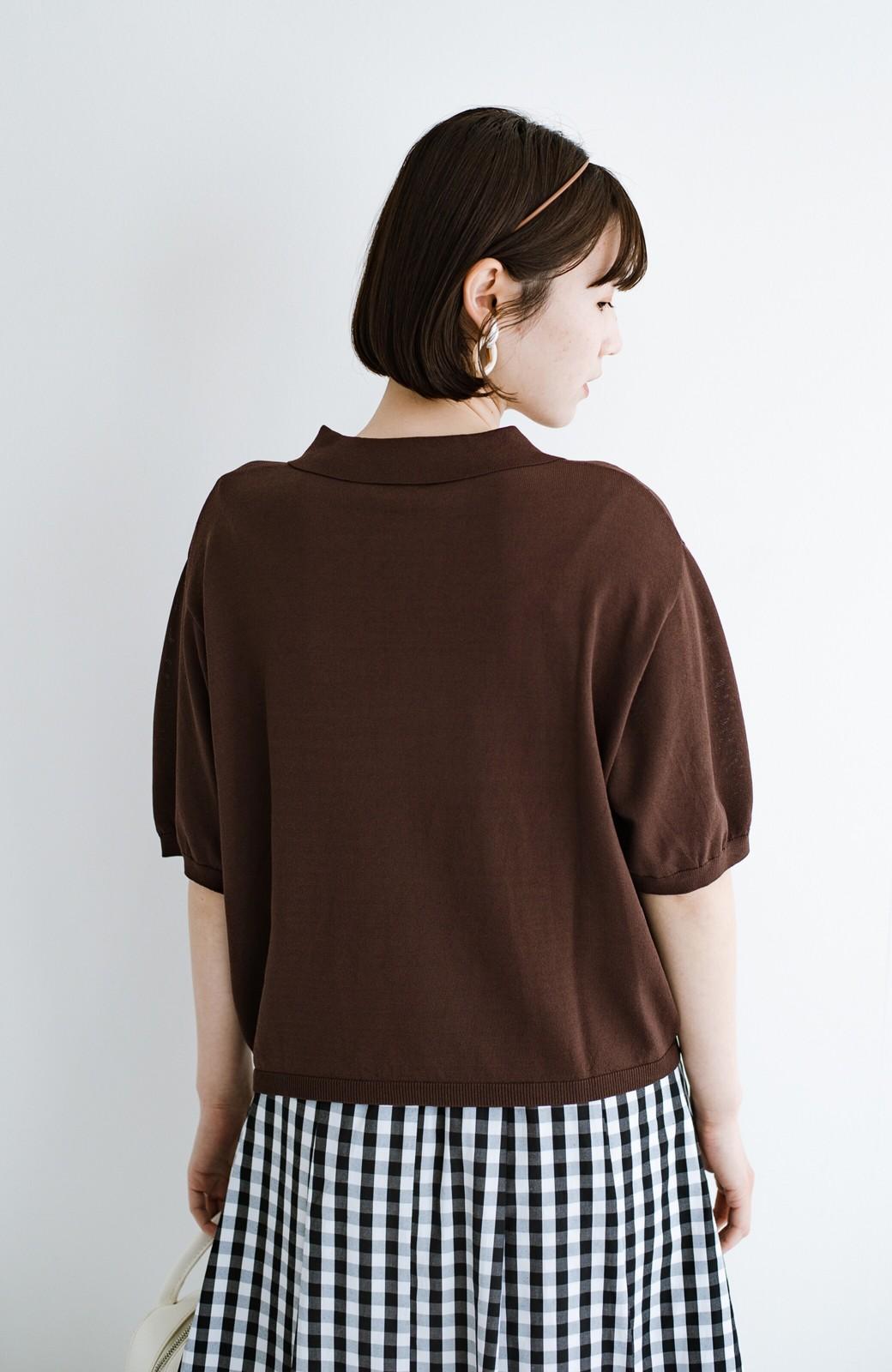 haco! Tシャツ代わりに着ておしゃれ気分が高まる 洗濯機で洗えるポロニットトップス <ブラウン>の商品写真4