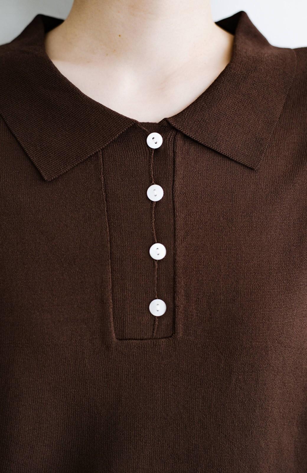 haco! Tシャツ代わりに着ておしゃれ気分が高まる 洗濯機で洗えるポロニットトップス <ブラウン>の商品写真6
