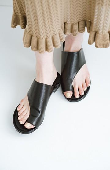 haco! ビーサンとスポサン禁止したらこれ履いとこう、楽して女っぽサンダル by que made me <ブラック>の商品写真