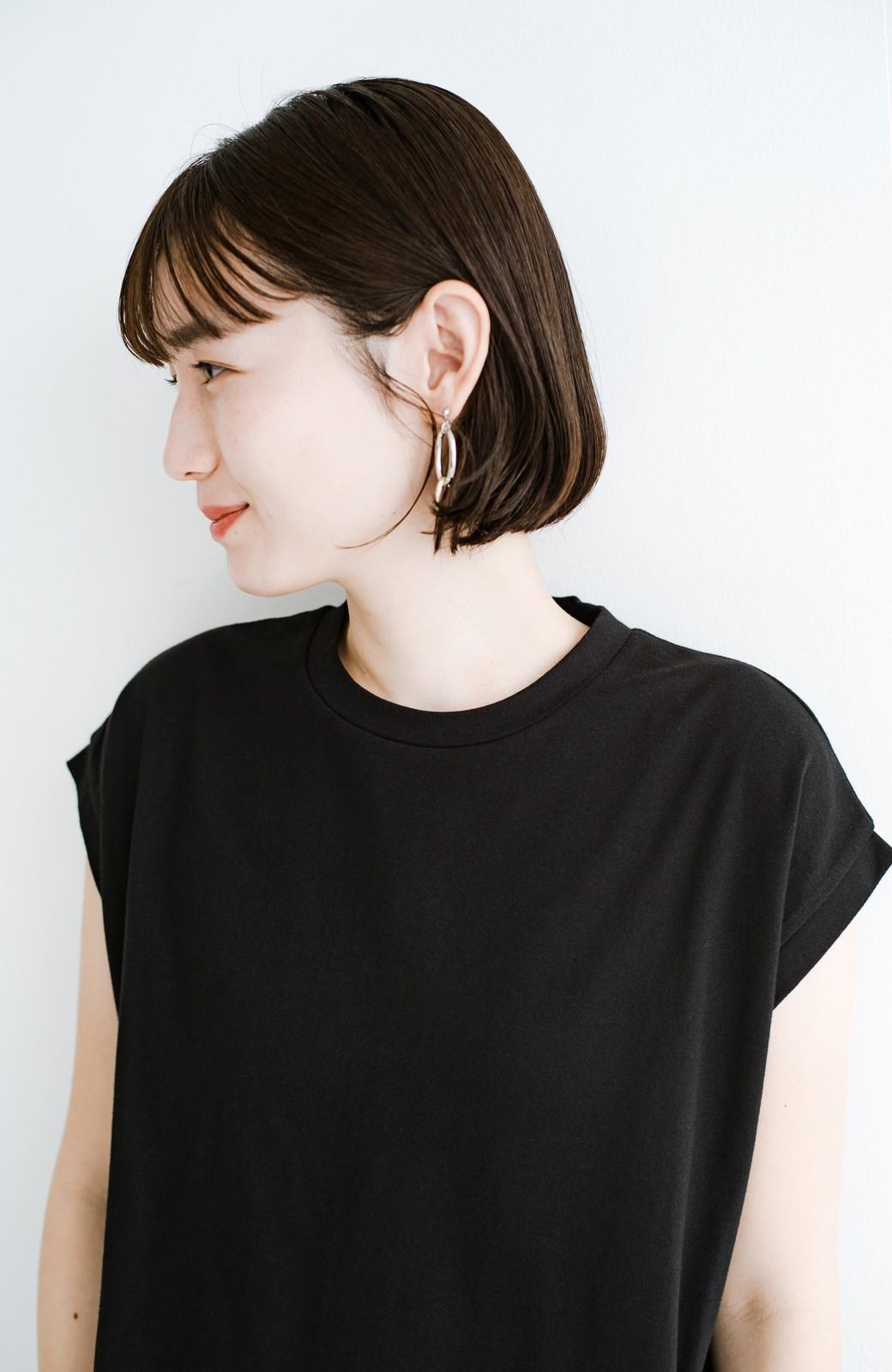 haco! 大人のTシャツこれならいける?!ちょい袖でかっこよく見せるTシャツ by que made me + PBP <ブラック>の商品写真4