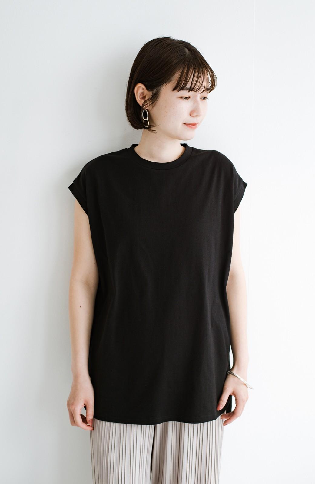 haco! 大人のTシャツこれならいける?!ちょい袖でかっこよく見せるTシャツ by que made me + PBP <ブラック>の商品写真13