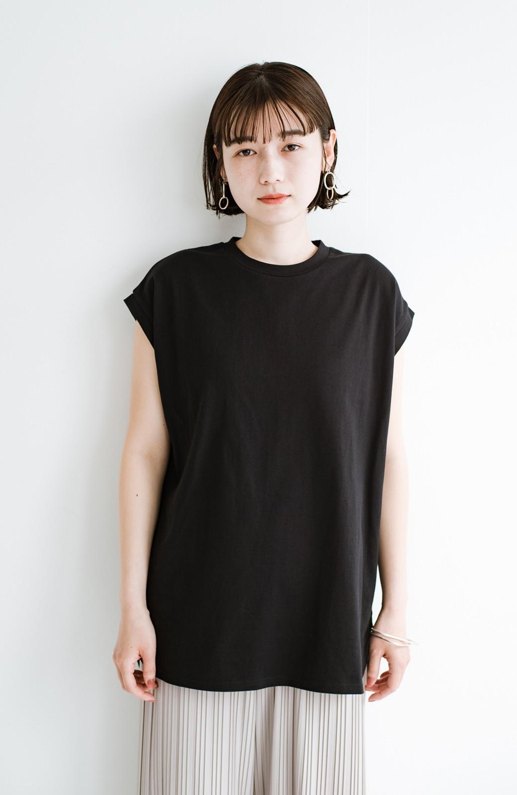 haco! 大人のTシャツこれならいける?!ちょい袖でかっこよく見せるTシャツ by que made me + PBP <ブラック>の商品写真3