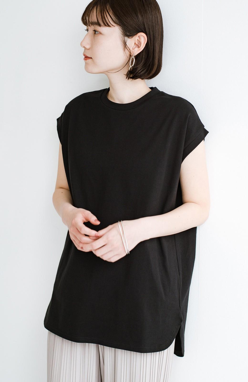 haco! 大人のTシャツこれならいける?!ちょい袖でかっこよく見せるTシャツ by que made me + PBP <ブラック>の商品写真1